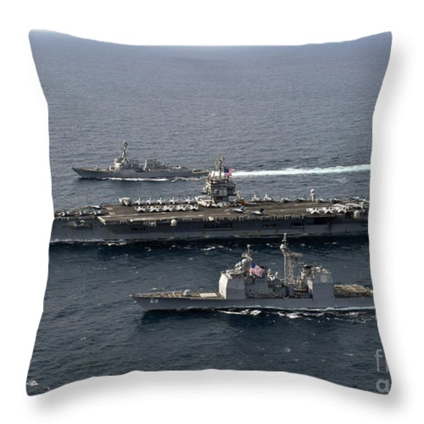 U.s. Navy Ships Transit The Atlantic Throw Pillow by Stocktrek Images