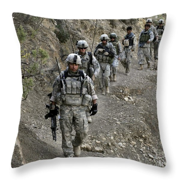 U.s. Soldiers And Afghan Border Throw Pillow by Stocktrek Images