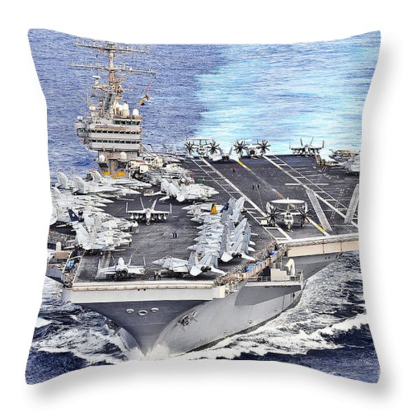 Uss Abraham Lincoln Transits Throw Pillow by Stocktrek Images