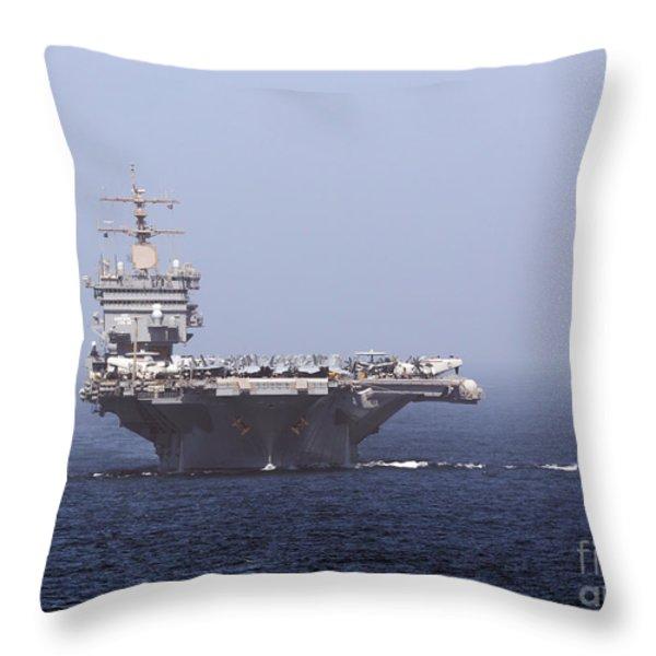 Uss Enterprise In The Arabian Sea Throw Pillow by Gert Kromhout