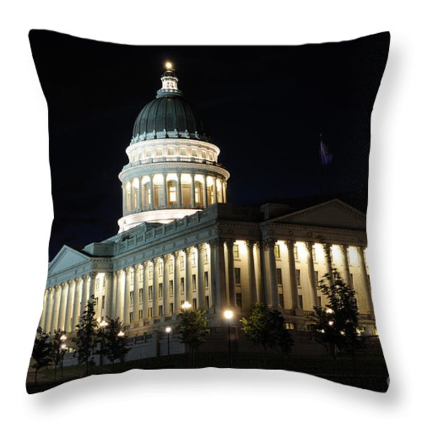 Utah Capitol at Night Throw Pillow by Gary Whitton