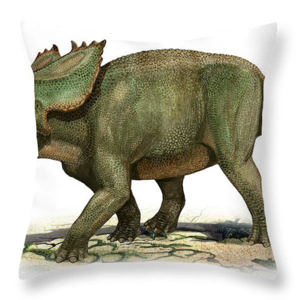 Utahceratops Gettyi, A Prehistoric Era Throw Pillow by Sergey Krasovskiy