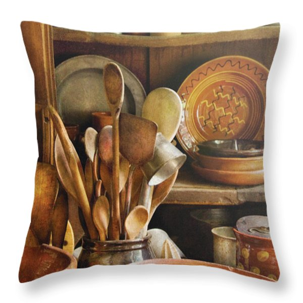 Utensils - Remembering Momma Throw Pillow by Mike Savad