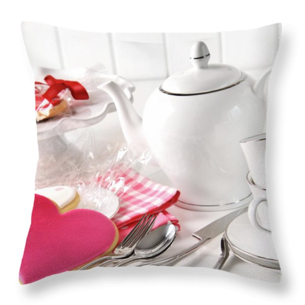 Valentine Cookies With Teapot And Cups Throw Pillow by Sandra Cunningham