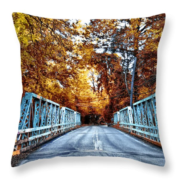Valley Green Road Bridge in Autumn Throw Pillow by Bill Cannon
