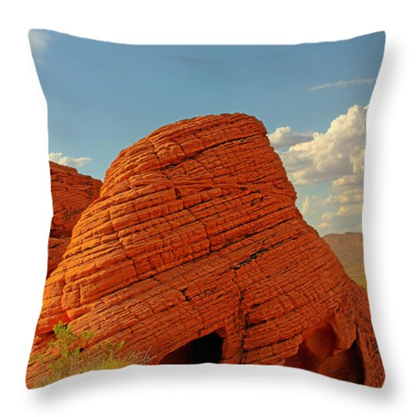 Valley Of Fire Nevada - Beehives Throw Pillow by Christine Till