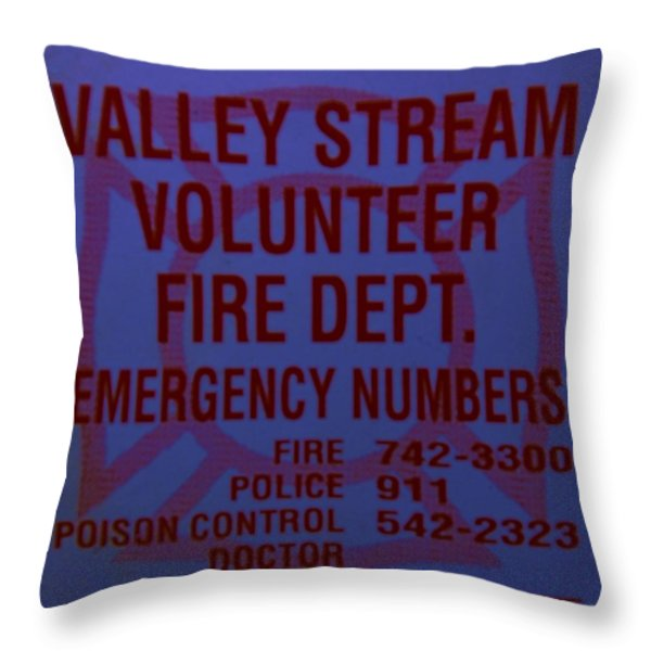 Valley Stream Fire Department In Blue Throw Pillow by Rob Hans