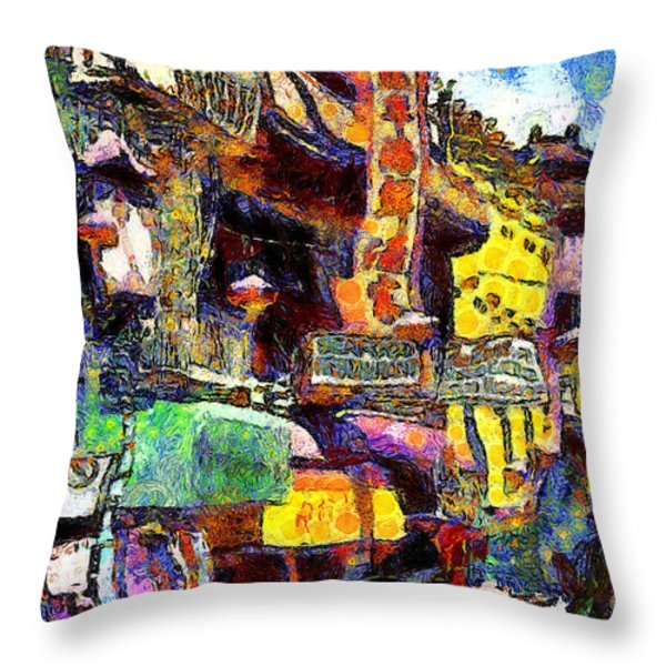 Van Gogh Meets Up With The Screamer In San Francisco Chinatown . 7d7174 Throw Pillow by Wingsdomain Art and Photography