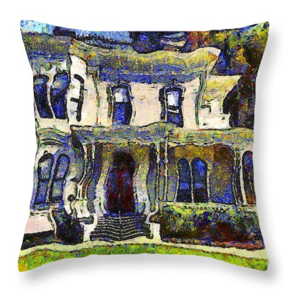 Van Gogh Visits The Old Victorian Camron-stanford House In Oakland California . 7d13440 Throw Pillow by Wingsdomain Art and Photography