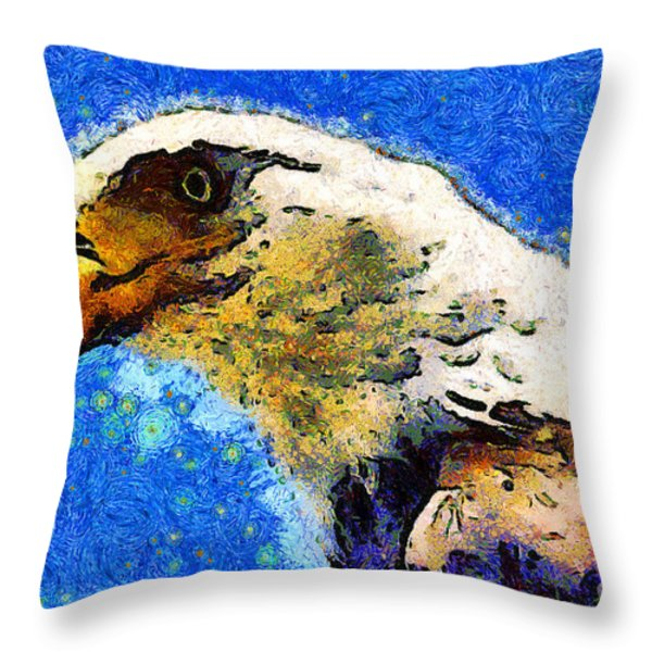 Van Gogh.s American Eagle Under A Starry Night . 40D6715 Throw Pillow by Wingsdomain Art and Photography