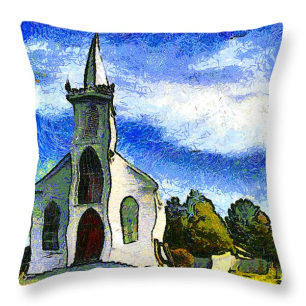 Van Gogh.s Church On The Hill 7D12437 Throw Pillow by Wingsdomain Art and Photography