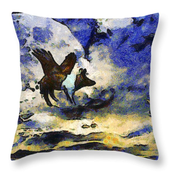 Van Gogh.s Flying Pig 2 Throw Pillow by Wingsdomain Art and Photography