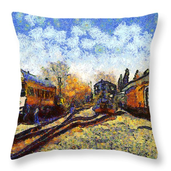 Van Gogh.s Train Station 7D11513 Throw Pillow by Wingsdomain Art and Photography