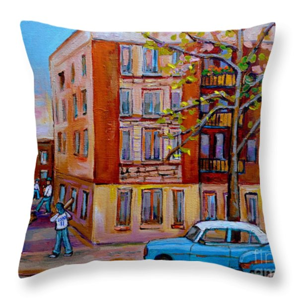 Van Horne Boulevard Montreal Street Scene Throw Pillow by Carole Spandau