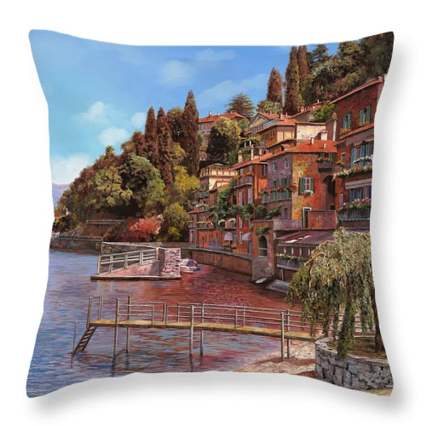 Varenna on Lake Como Throw Pillow by Guido Borelli