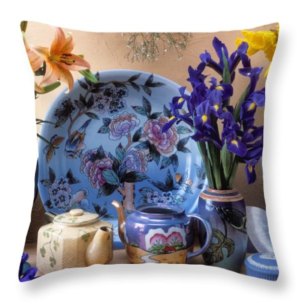 Vase And Plate Still Life Throw Pillow by Garry Gay