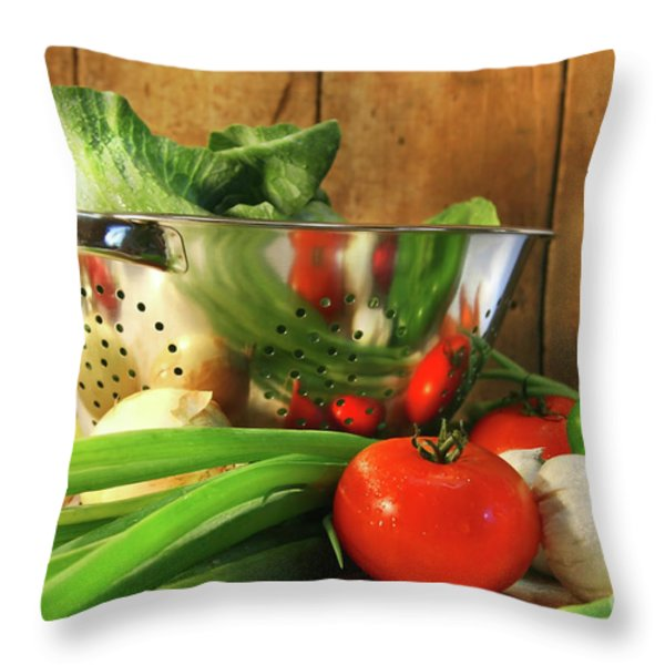 Veggies on the counter Throw Pillow by Sandra Cunningham