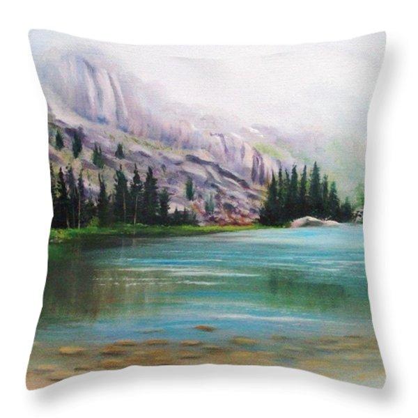 Veil Over Elk Lake Throw Pillow by Patti Gordon