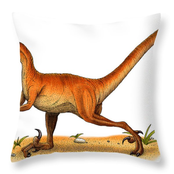Velociraptor Throw Pillow by Roger Hall and Photo Researchers