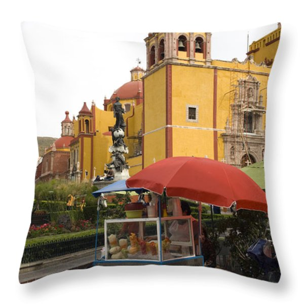 Vending Cart Outside Of The Basilica De Throw Pillow by Krista Rossow