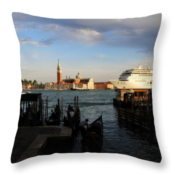 Venice Cruise Ship Throw Pillow by Andrew Fare