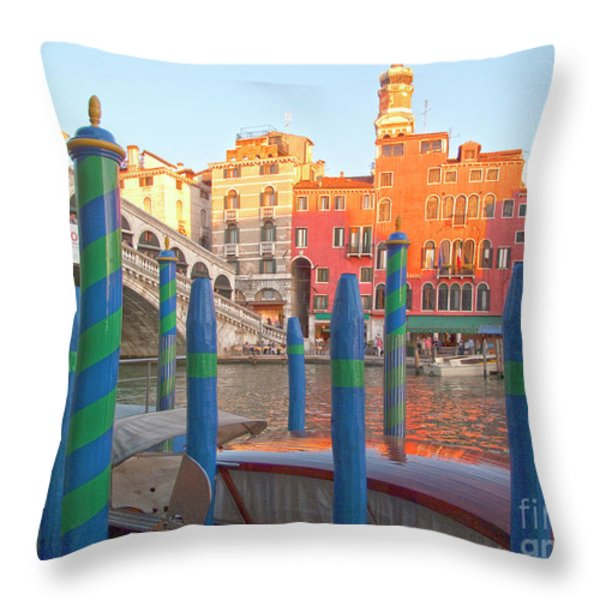 Venice Rialto Bridge Throw Pillow by Heiko Koehrer-Wagner