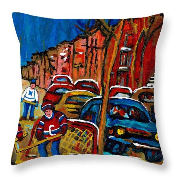 VERDUN ROWHOUSES WITH HOCKEY - PAINTINGS OF VERDUN MONTREAL STREET SCENES IN WINTER Throw Pillow by CAROLE SPANDAU