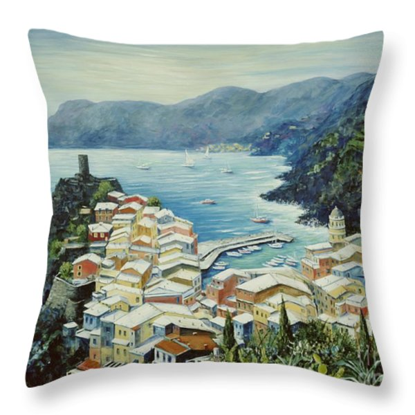 Vernazza Cinque Terre Italy Throw Pillow by Marilyn Dunlap