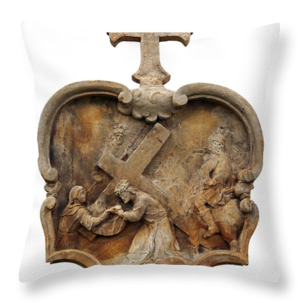 Veronica Wipes The Face Of Jesus Throw Pillow by Michal Boubin