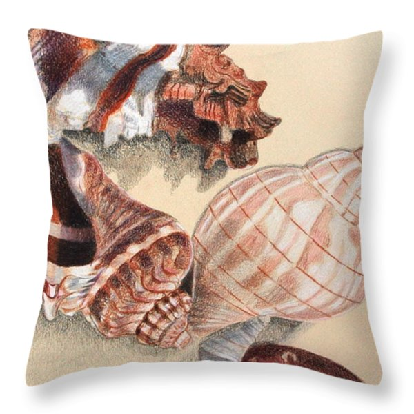 Vertical Conch Shells Throw Pillow by Glenda Zuckerman