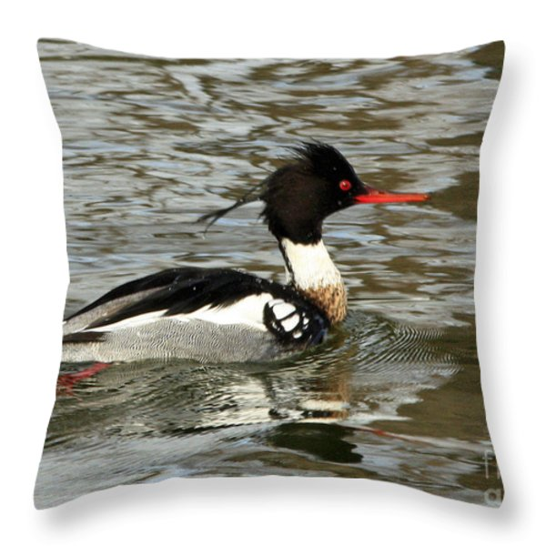 Vibrant Red Breasted Merganser At The Lake Throw Pillow by Inspired Nature Photography Fine Art Photography