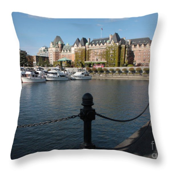 Victoria Harbour with Railing Throw Pillow by Carol Groenen