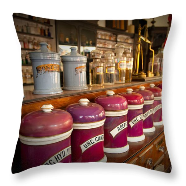Victorian Chemist Throw Pillow by Adrian Evans