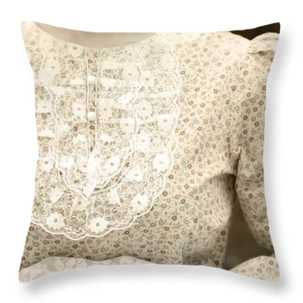 Victorian Dress Throw Pillow by Joana Kruse