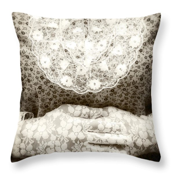 Victorian Hands Throw Pillow by Joana Kruse