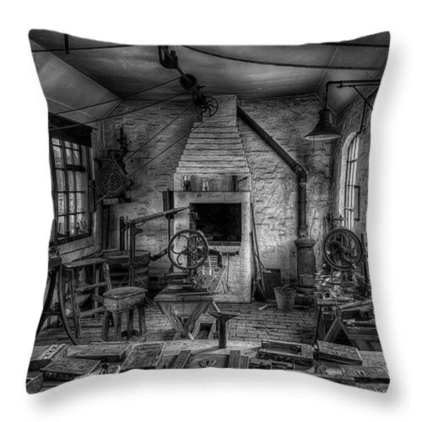 Victorian Locksmith's Workshop Throw Pillow by Adrian Evans