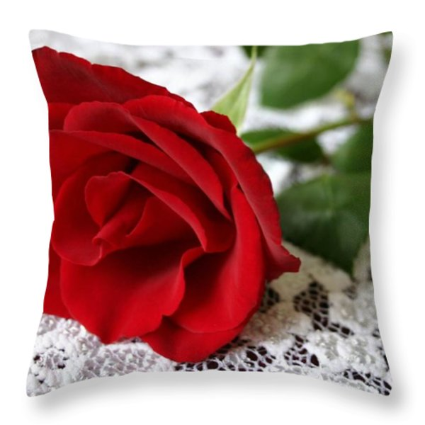 Victorian Rose Throw Pillow by Kristin Elmquist