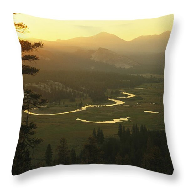 View At Dawn Of The Tuolumne River Throw Pillow by Phil Schermeister