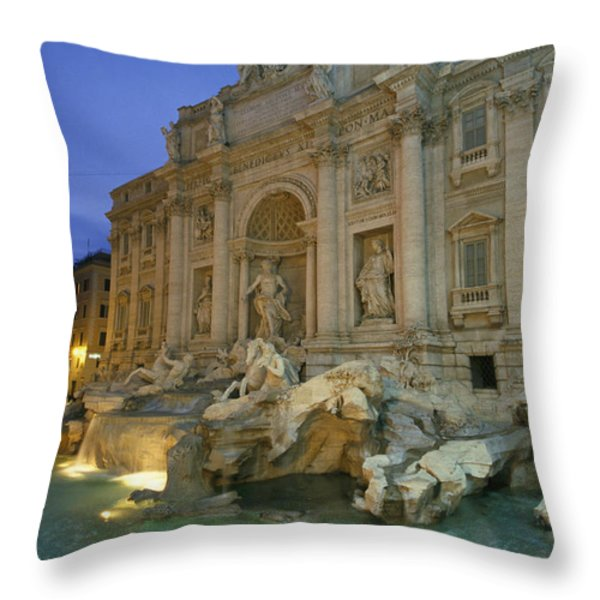View At Dusk Of The Trevi Fountain Throw Pillow by Richard Nowitz