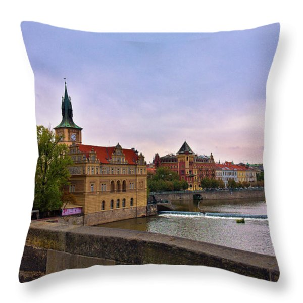 View from the Charles Bridge Revisited Throw Pillow by Madeline Ellis
