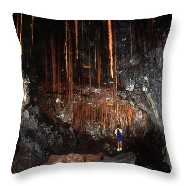 View Inside Kaumana Lava Tube, Hawaii Throw Pillow by Gregory G. Dimijian, M.D.