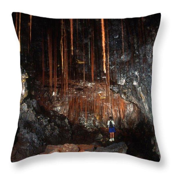 View Inside Kaumana Lava Tube, Hawaii Throw Pillow by Gregory G. Dimijian, M.D.