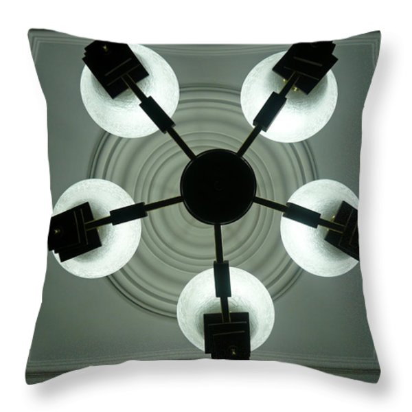 View of 5 bulb chandelier against a decorated ceiling from underneath Throw Pillow by Ashish Agarwal
