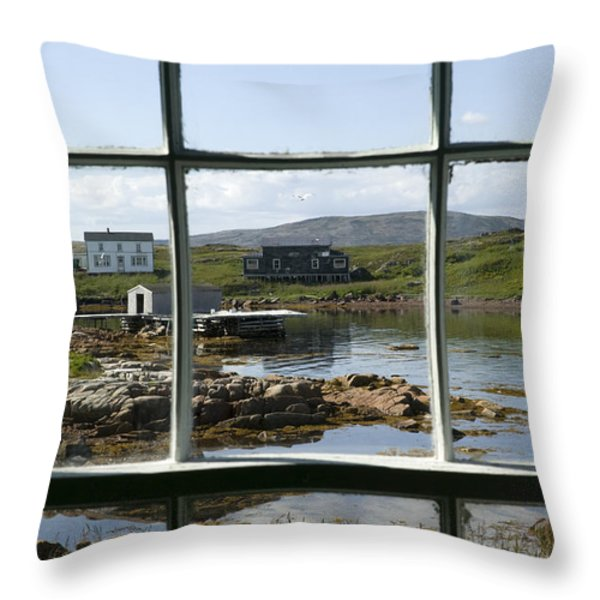 View Of A Harbor Through Window Panes Throw Pillow by Pete Ryan
