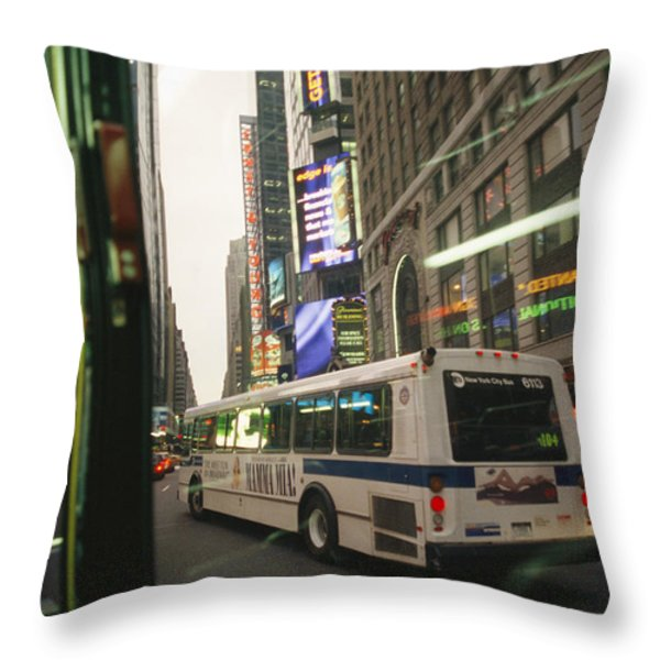 View Of A New York City Bus Throw Pillow by Gina Martin