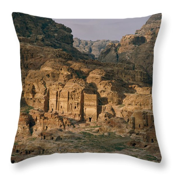 View Of A Number Of Nabataean Tombs Throw Pillow by Annie Griffiths