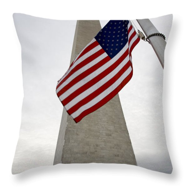 View Of American Flag Throw Pillow by Tim Laman