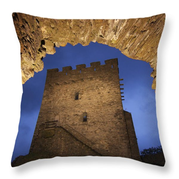 View Of Medieval Dolwyddelan Castle Throw Pillow by Jim Richardson