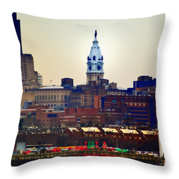 View Of Philadelphia City Hall From Camden Throw Pillow by Bill Cannon