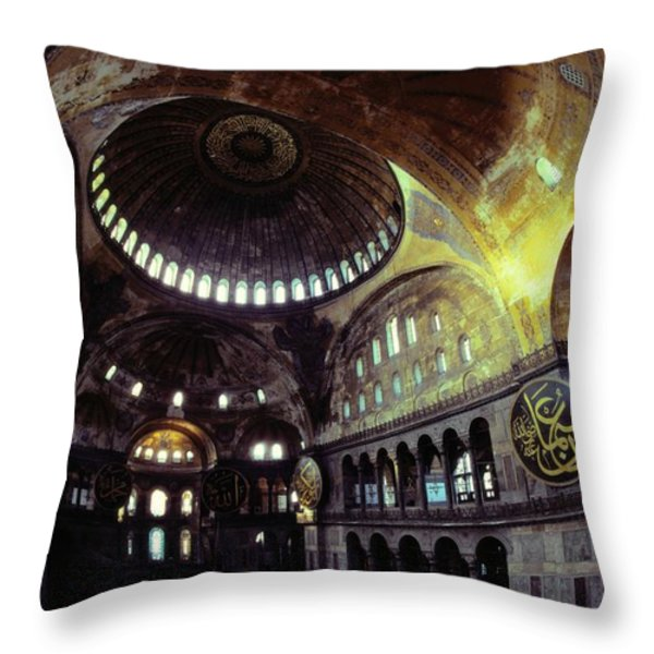 View Of The Interior Of Hagia Sophia Throw Pillow by James L. Stanfield
